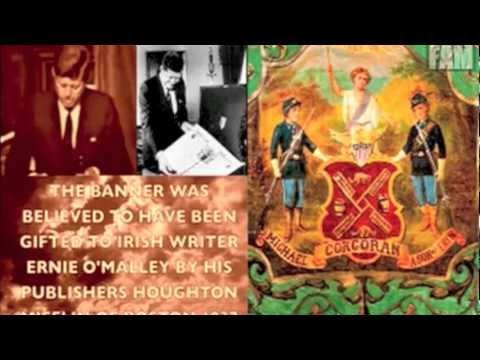 69th IRISH BRIGADE BANNER IN AUCTION JFK RARE DUBLIN FOOTAGE
