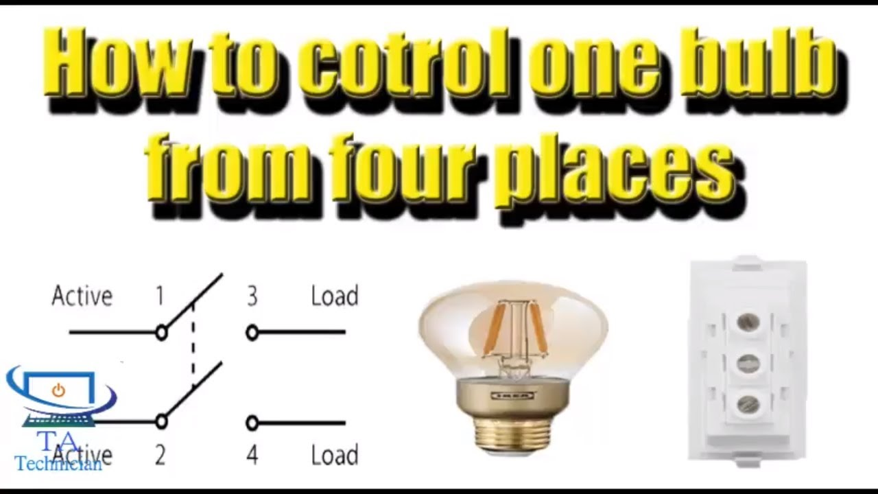 Four switches control one light bulb from 4 places in Hindi/Urdu ...