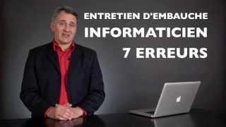 Entretien d'embauche informaticien, (développeur, programmeur, IT, webdesigner, webmaster)