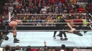 BrockLesnar Attacks Seth Rollins Bigshow and kane The Beast is unleast