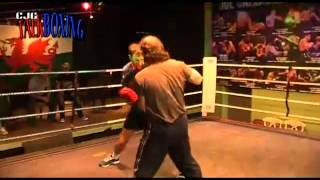 Former world boxing champion Enzo Maccarinelli on pads with Enzo Calzaghe