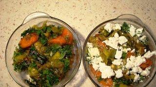 Теплый салат с луком-пореем, морковкой и фетой в восточном стиле.  Есть постный вариант подачи