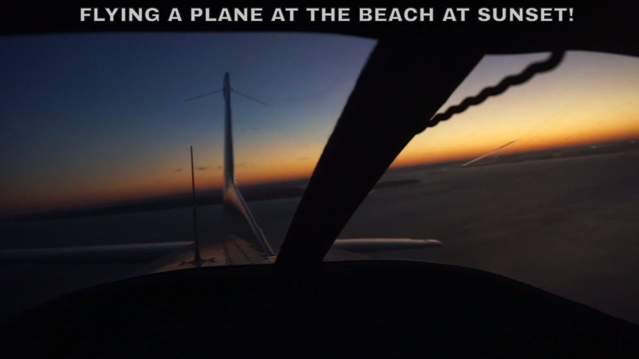 FLYING A PLANE AT THE BEACH AT SUNSET!