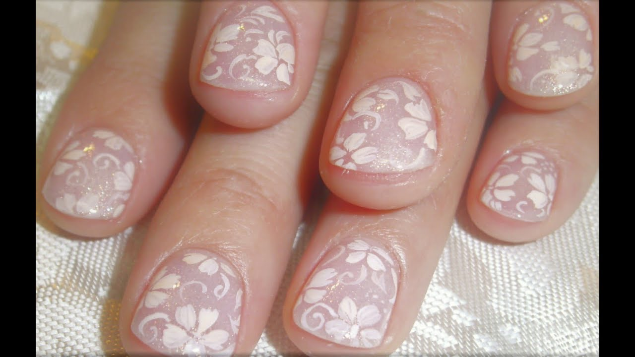 Easy Nail Art For Beginners Simple White Flowers On Nude Short
