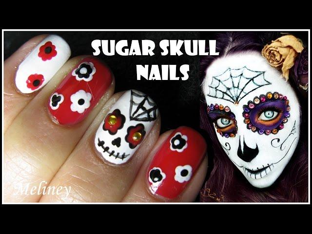 Halloween Nail Design Sugar Skull Nail Art Tutorial Mexican Day Of