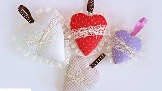 Cuori di Stoffa imbottiti senza cucire - Fabric Hearts (no sew)