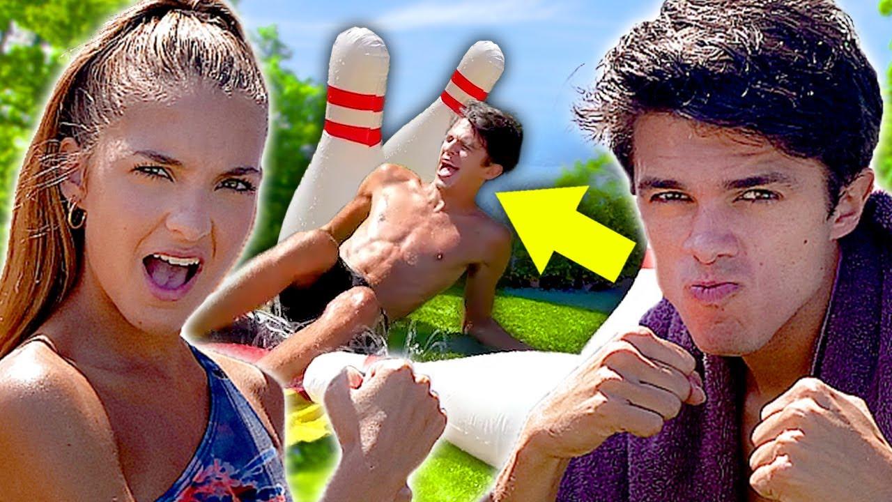 Human bowling SIBLING CHALLENGE - Lexi VS Brent Rivera - Brent's Backyard Battles | AwesomenessTV