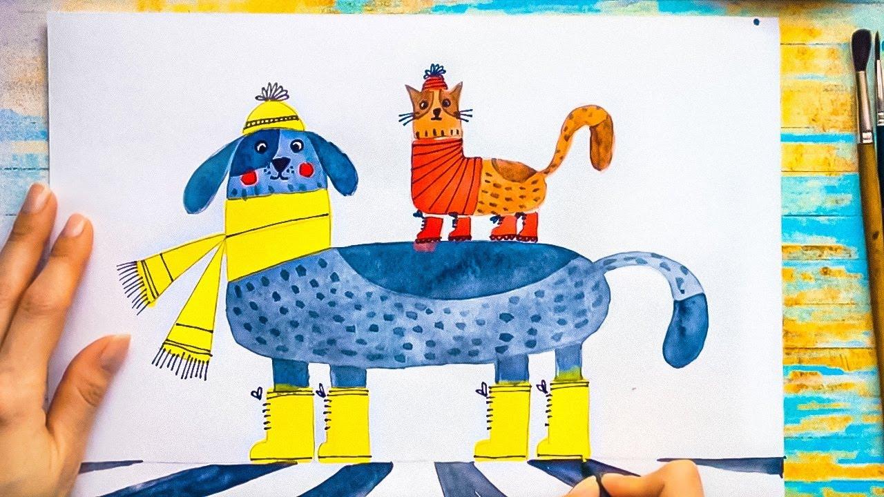 Урок рисования для детей. Почему кошки и собаки не дружат ...