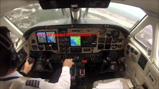 B100 landing in turbulent weather at KBHB - cockpit view!