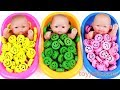 Baby Doll Smiley Candy Bath Time Surprise Eggs Kinder Joy Baby Finger Family Song Learn Colors Kids