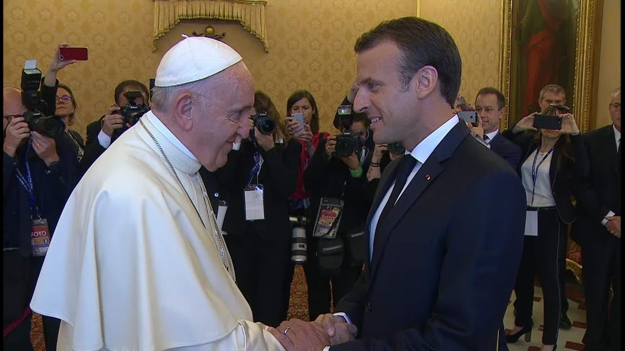 Pope Francis and French president Emmanuel Macron meet for 57 minutes