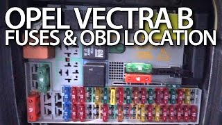 Where are fuses and OBD port in Opel Vectra B (Vauxhall relays on-board diagnostic interface)