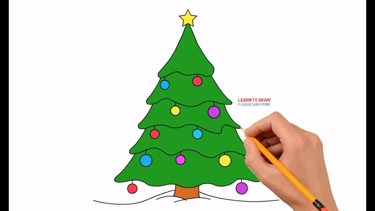 How to Draw a Christmas Tree Step by Step Easy For Kids - YouTube