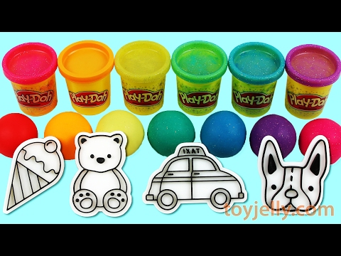 Learn Colors Play Doh Modeling Clay Ice Cream Cookie Cutter PEZ Toys Disney Princess Nursery Rhymes