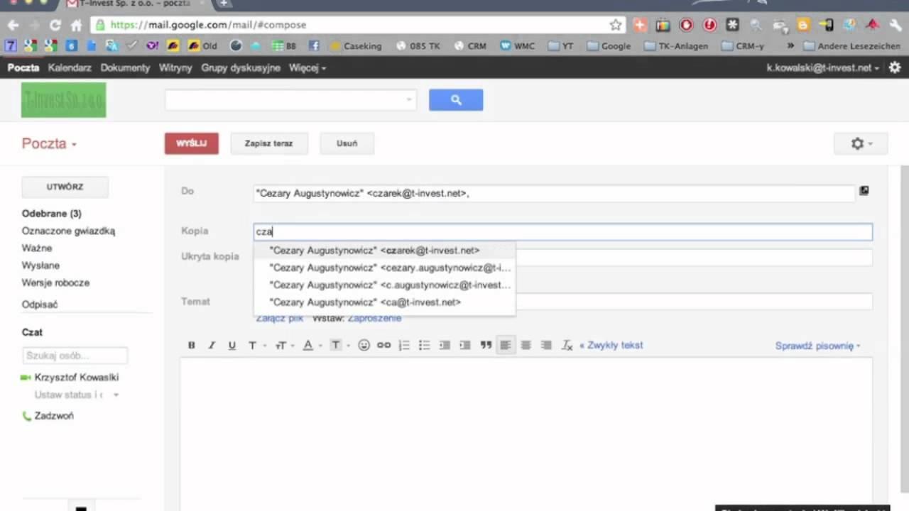 Wysyłanie Maila Z Poczty Gmail Youtube