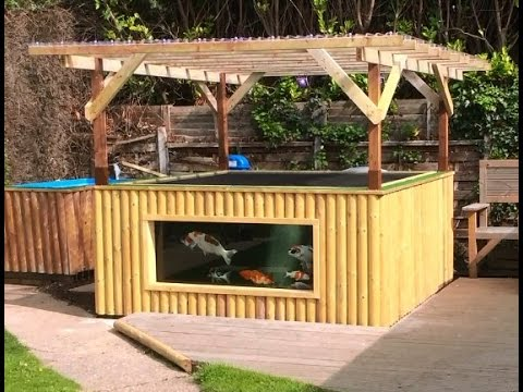Koiquarium koi pond youtube for Wooden koi pool