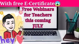 Free Webinars for Teachers | July 2020