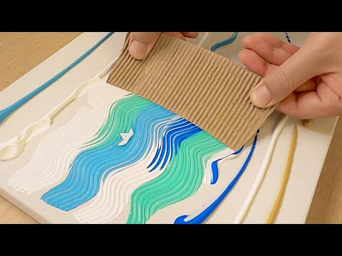 How to Draw a Boat on the Sea / Acrylic Painting with Cardboard