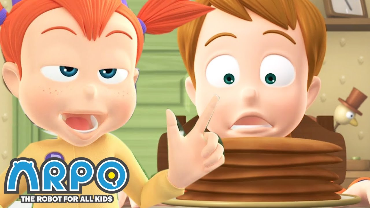 Emma eats ALL of Joeys Pancakes! - ARPO the Robot | 에피소드를보고 | Cartoons for Kids | Robot Animation