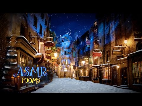 Harry Potter ASMR - Diagon Alley - Ambient sound white noise Cinemagraph - Snow, wind, fireworks