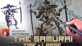 Cyborg Samurai Illustration (Time-Lapse with Commentary)