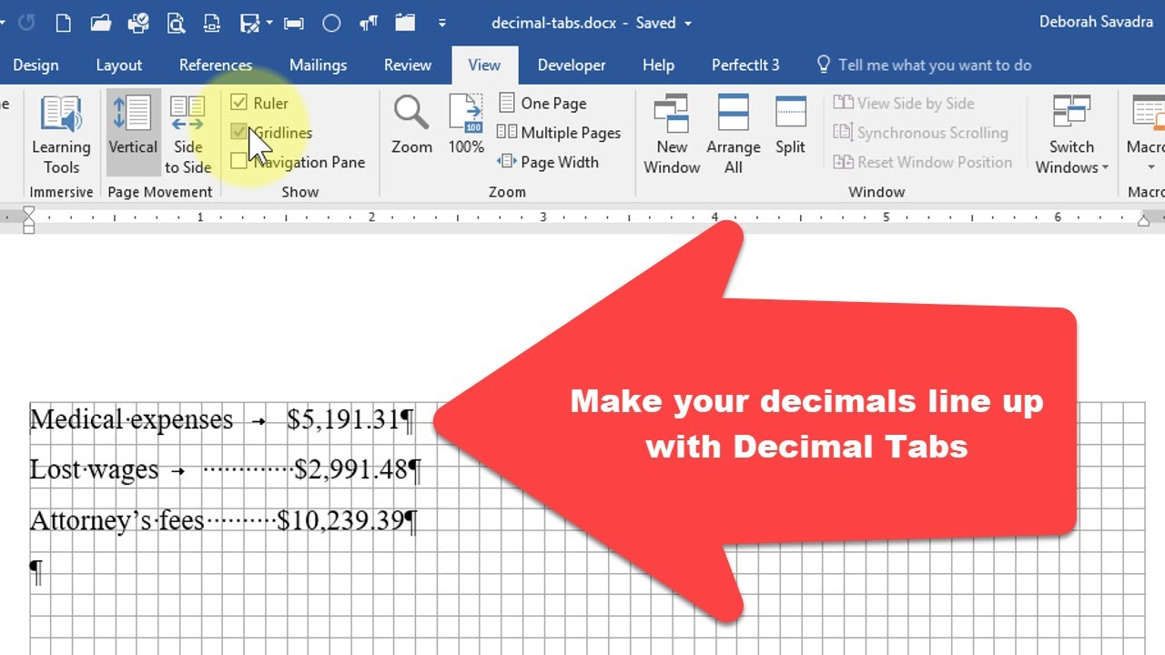 Don't line up numbers manually - use decimal tabs in Microsoft Word