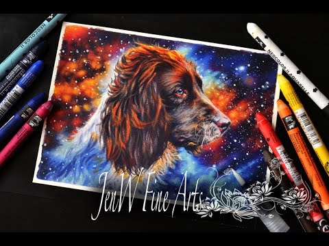 Testing Caran'dache NeocolorII crayons, drawing a dog protrait in a space background