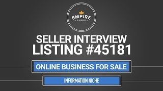 Online Business For Sale - $8.9K/month in the Information Niche