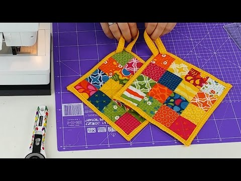 DIY Patchwork Topflappen TOPFI selber nähen (Tutorial for Potholders)