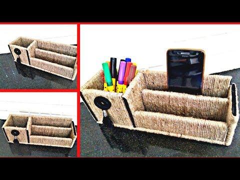 DIY Desk organizer using cardboard and Jute|| Room Organization|| waste craft|| Iris Craft Corner 40