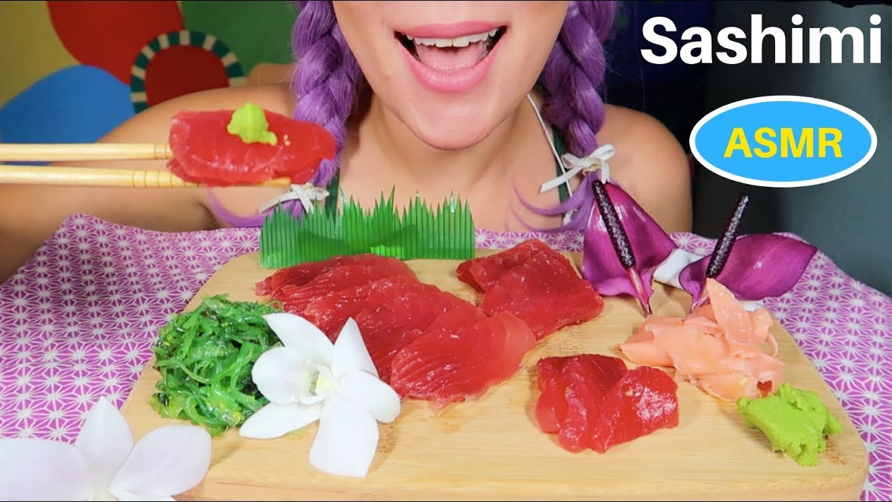 ASMR FRESH Ahi Tuna Sashimi Eating sound  | 싱싱한 하와이 참치 먹방 | CURIE. ASMR