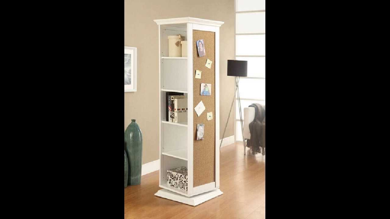 Standing Mirror White Finish Wood Rotating Storage Cabinet With Large Cork