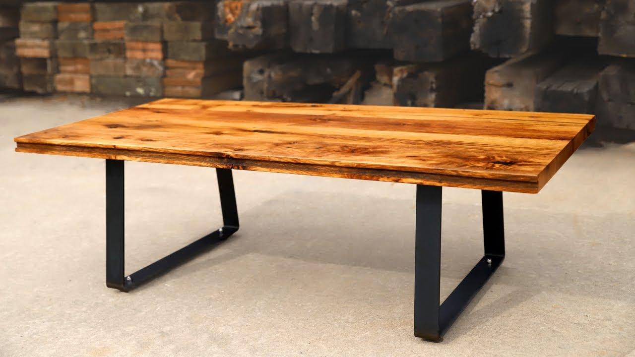 Diy Coffee Table Using Reclaimed Oak Floor From Horse Barn Modern Farmhouse