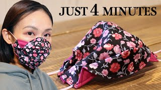 JUST 4 MINUTES 3 Layer 3D Face Mask Sewing Tutorial DIY Mask for Beginner
