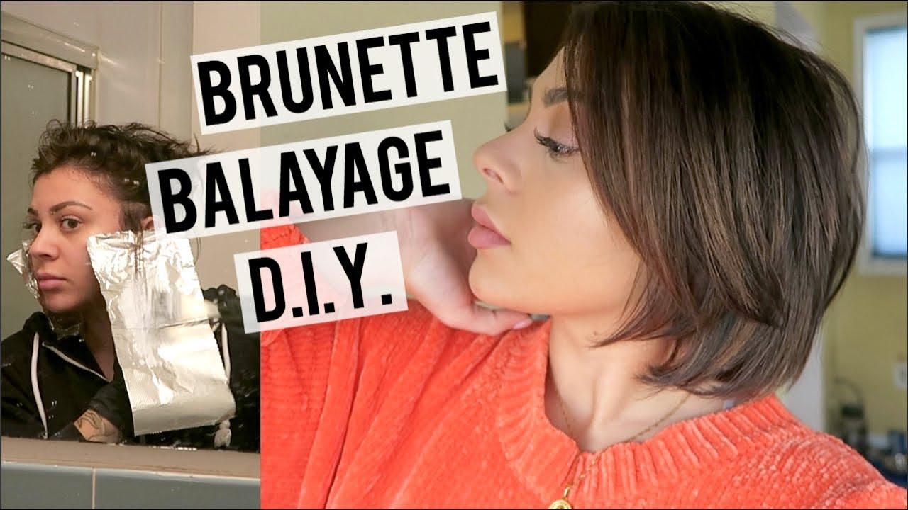How To Balayage Highlights Teasylights On Short Hair Brunette Balayage Youtube