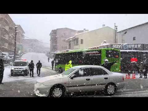 Mavi Durak'ta Yoğun Kar Yağışı - Sakarya