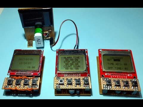 Nokia 5110 LCD Powered With Coin Cell or Solar Charged Super Capacitor