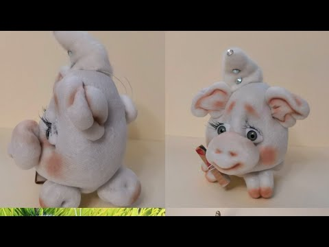 видео: Супер Просто!!! Самая простая и симпатичная свинка из капрона! Мастер класс!