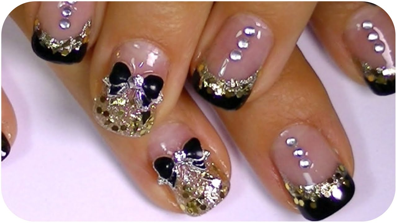 black and gold nail art design cute bow,small rhinestones