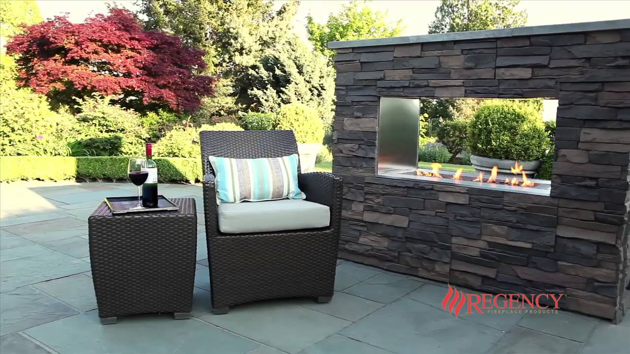 regency plateau outdoor fireplace pto30 with see through framing