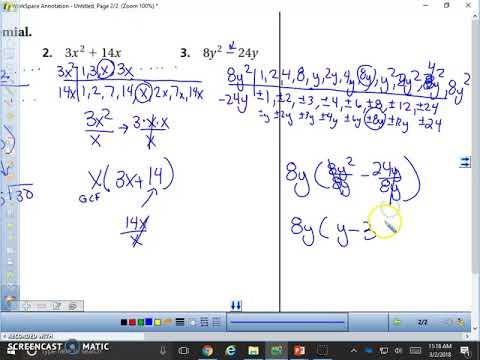Algebra 1 7.6 lesson- Factoring Polynomials using GCF
