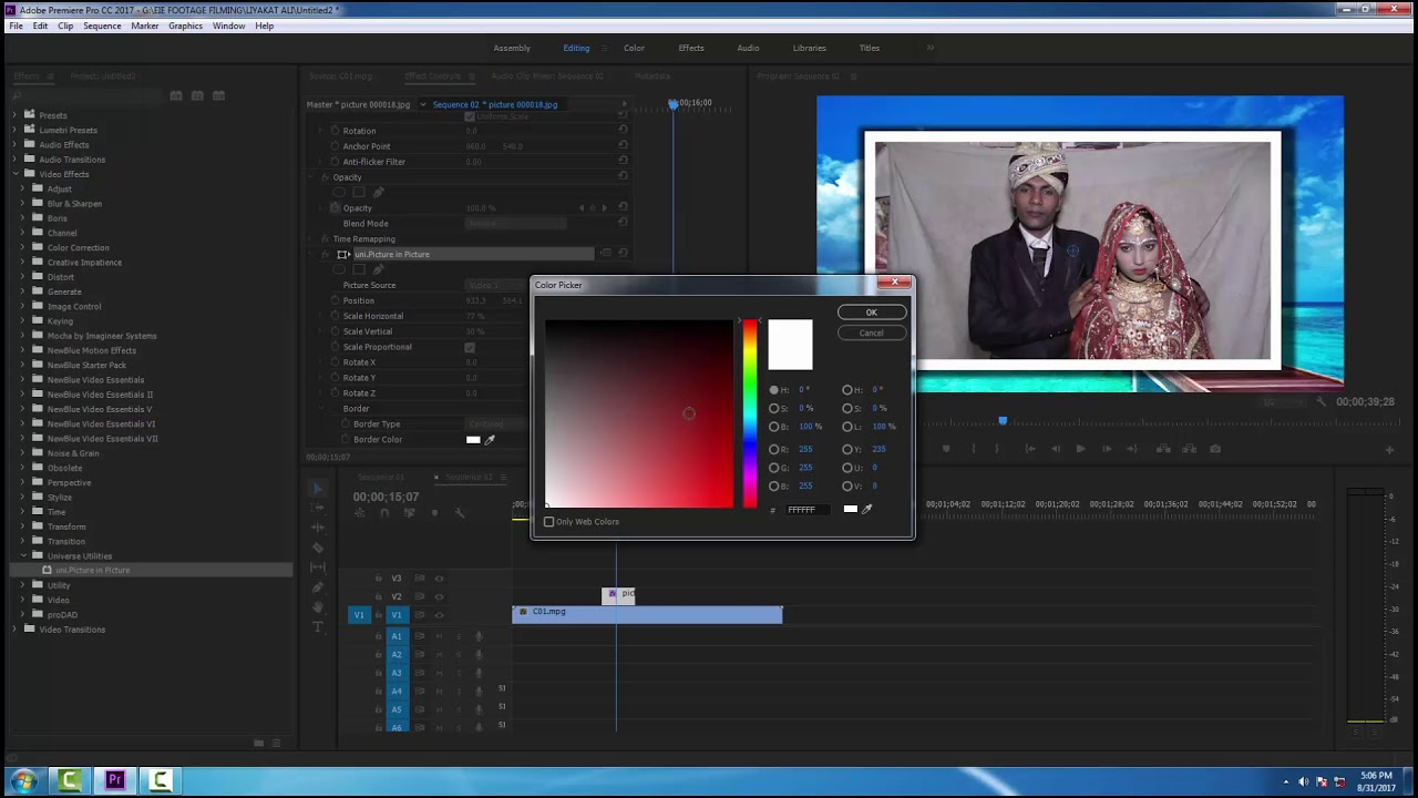How to add a Border to a Video Clip in Premiere Pro In HINDI