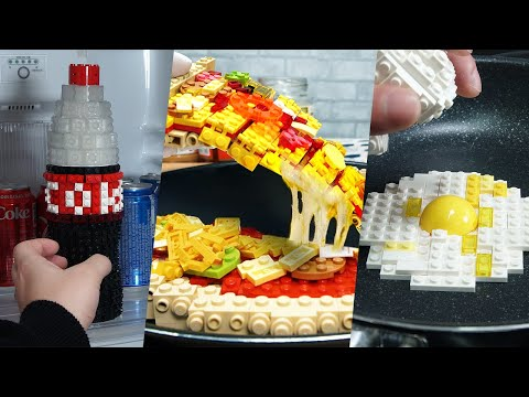 Lego In Real Life 5 Episodes - Chocolate Cake / Stop Motion Cooking & ASMR