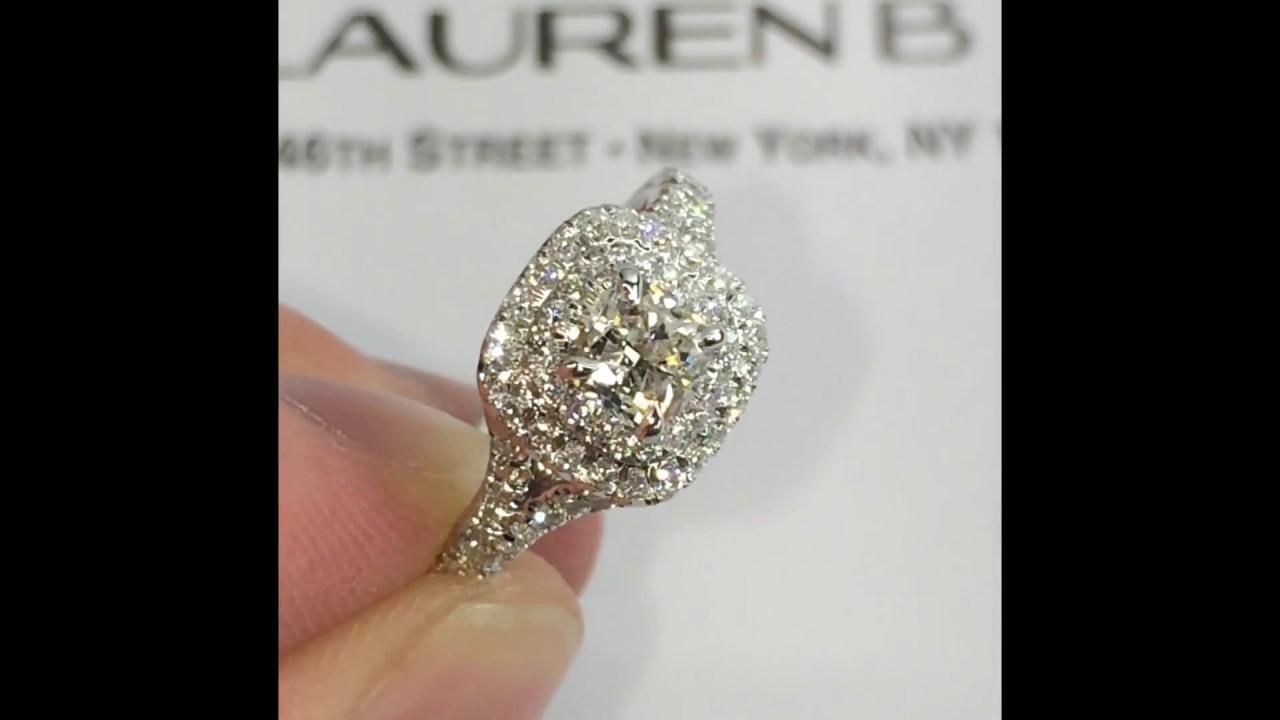 1 carat Cushion Diamond Double Halo Engagement Ring
