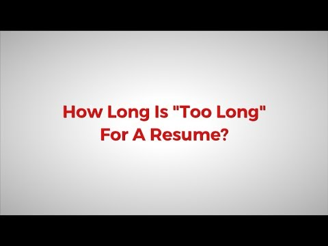 how long is too long for a resume ask j t dale youtube