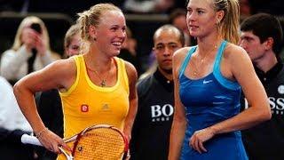 Maria Sharapova and Caroline Wozniacki Dance with Fans