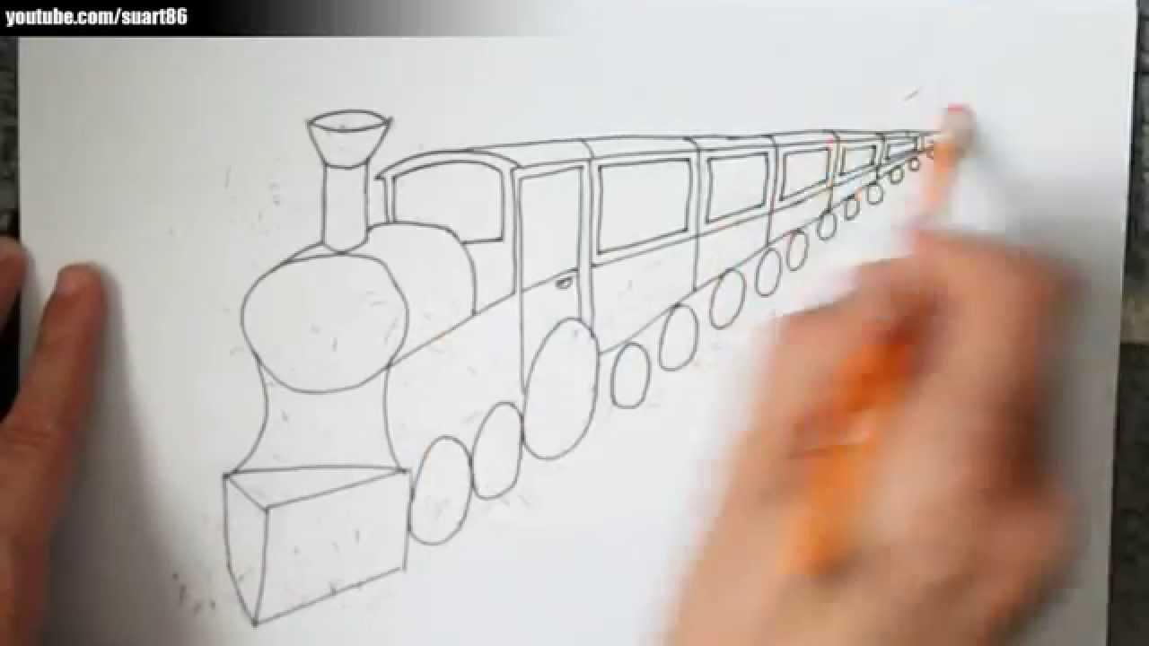 Como dibujar un tren en perspectiva - YouTube
