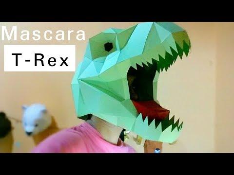 Cómo hacer una mascara de tiranosaurio rex(Dinosaurio) fácil y muy rápido-Mascaras Papercraft
