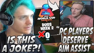 "Ninja Reacts To Tfue WANTING ""Aim Assist"" On PC & Epic REMOVING His World Cup Qualifying Points!"