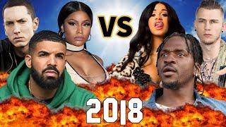 Biggest Rap Beefs of 2018 | Drake vs. Pusha T, MGK vs. Eminem, Cardi B vs Nicki Minaj